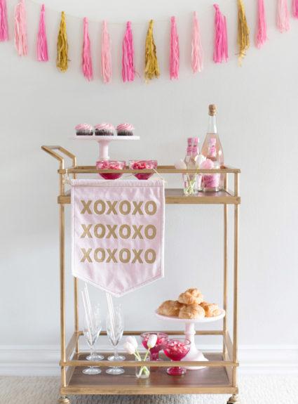 Simple Valentine's Day Bar Cart